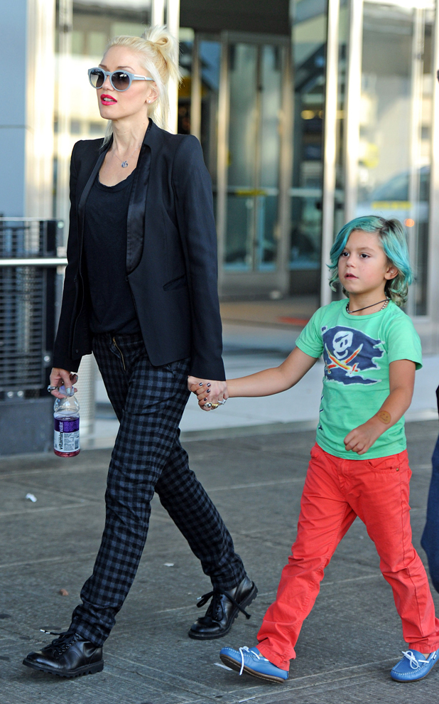 Gwen Stefani arrives at JFK Airport, New York, America