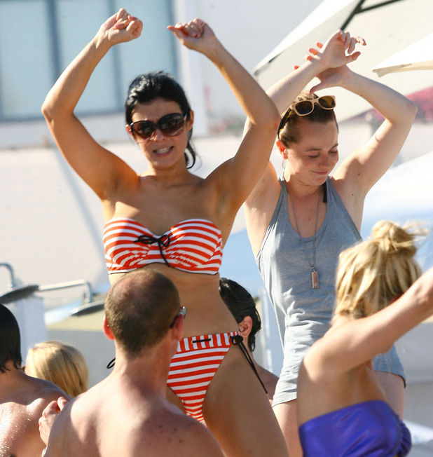 Kym Marsh enjoys a day on the beach with her friends and family in Marbella to celebrate her hen weekend Marbella, Spain - 28.07.12 **Not for publication in Spain. Available for publication in the rest of the world** Credit: WENN.com
