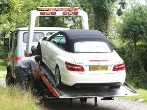 Chloe Sims car being recovered, The Only Way Is Essex star Chloe Sims put 60-worth of petrol into her new diesel-fuelled Mercedes sports car. The vehicle broke down as she made her way to film scenes for the reality show at co-star Sam Faiers&#39; house but she still found time to do her make-up while she waited for assistance. A courtesy car was delivered to Sam&#39;s house but Chloe may have to wait up to five days for her vehicle to be repaired.The cast of &#39;The Only Way Is Essex&#39; filming in Essex