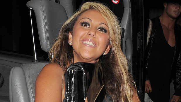 &#39;Geordie Shore&#39; star Sophie Kasaei leaving Aura nightclub. London, England - 15.02.12