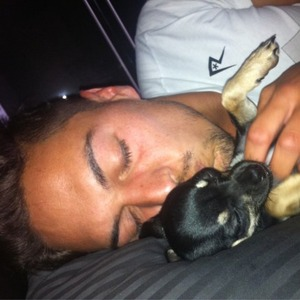 Mario Falcone with puppy Bentley