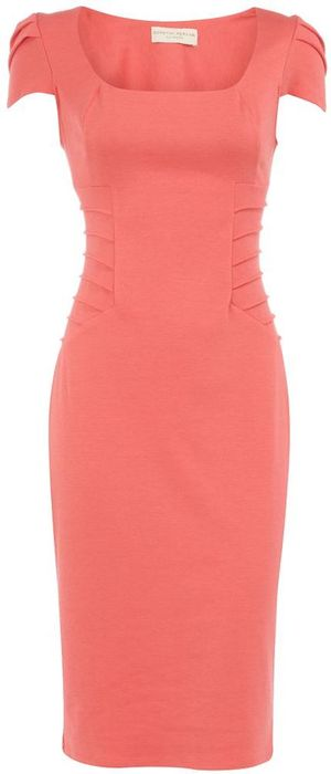 miss mode: coral body con dress