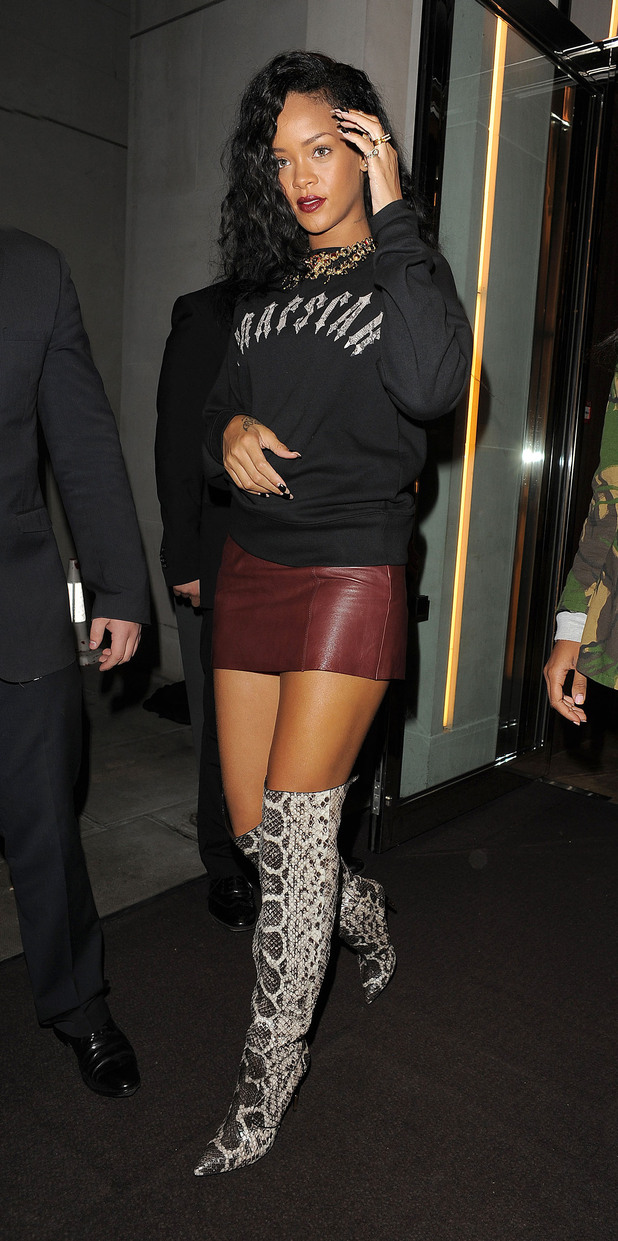 Rihanna leaving her hotel and heading to Nozomi restaurant for a very late dinner. London, England
