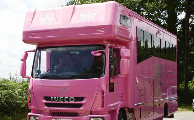 Katie Price aka Jordan driving her new customised pink horse trailer Surrey, England - 28.07.09 Mandatory Credit: WENN.com
