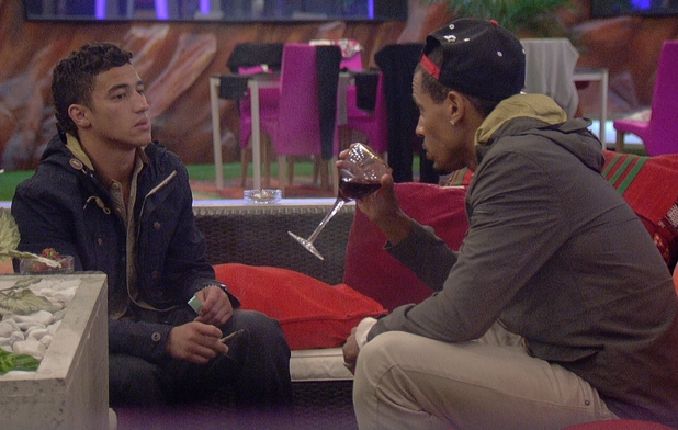Ashley and Harvey talking during eviction night.