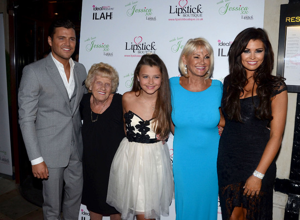 Mark Wright, Nanny Pat, Natalya Wright, Carol Wright, Jessica Wright Launch celebration of the new clothing line 'Lipstick Boutique' by Jessica Wright, at Soho Sanctum Hotel London, England - 21.08.12 Mandatory Credit: Chris Saxon/WENN.com