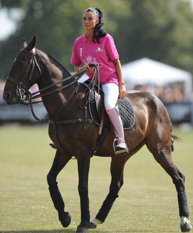 Katie Price AKA Jordan on a horse at the Duke of Essex Polo Trophy at Gaynes Park Epping, Essex - 04.07.09 Credit Mandatory: Alex Broadway/WENN.com
