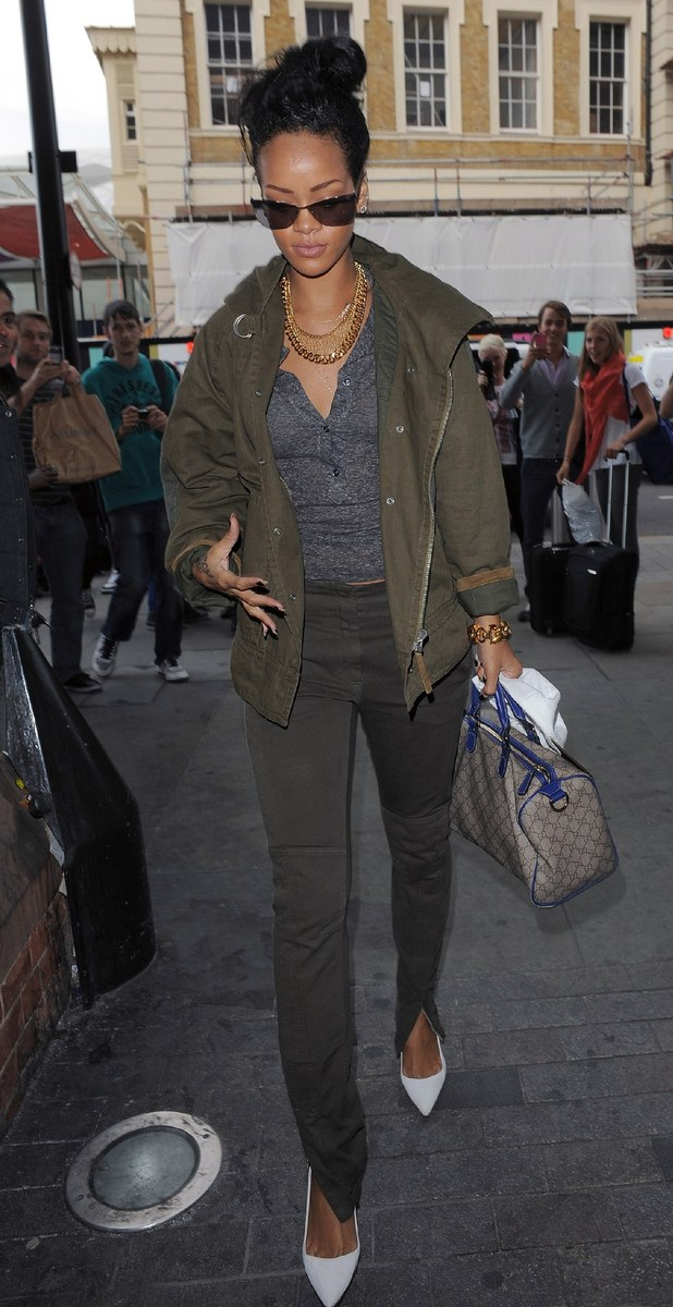 Rihanna arriving at St Pancras Station to board a Eurostar train to Paris. London