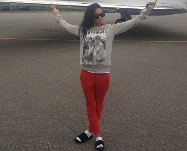 Rihanna with her private jet