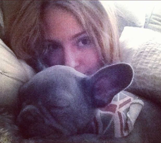 Millie Mackintosh has a lie in with her French bulldog puppy Herby