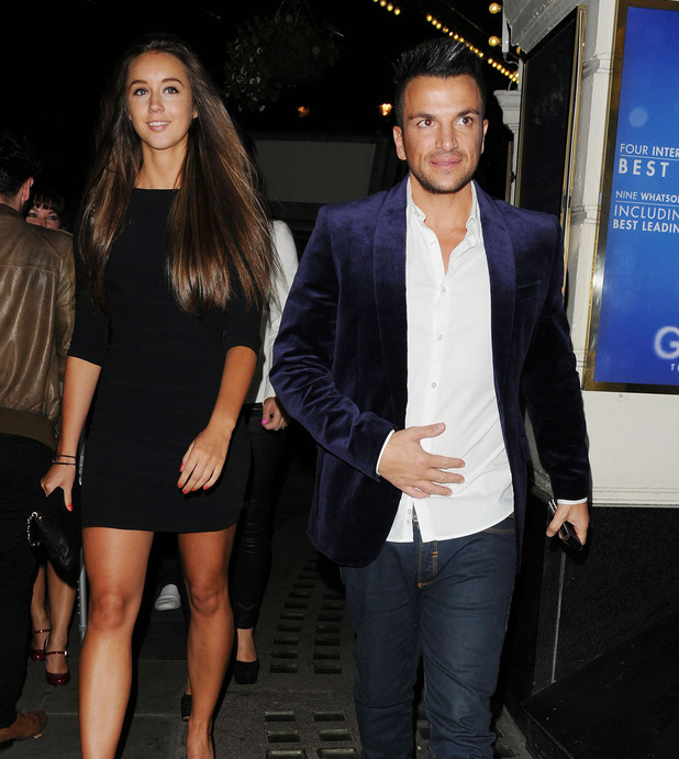 Peter Andre and Emily MacDonagh leaving the Piccadilly Theatre after watching the stage production of 'Ghost The Musical' London, England - 17.07.12 Credit Mandatory: WENN.com