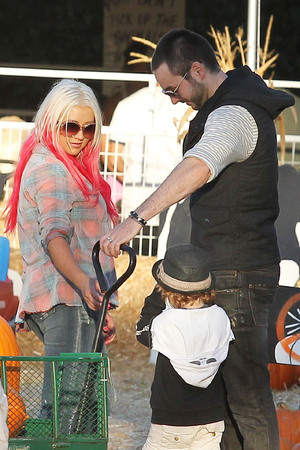 Max Bratman and Christina AguileraChristina Aguilera enjoys a day at Mr. Bones Pumpkin Patch with her son and boyfriend Los Angeles, California - 14.10.12 Mandatory Credit: WENN.com