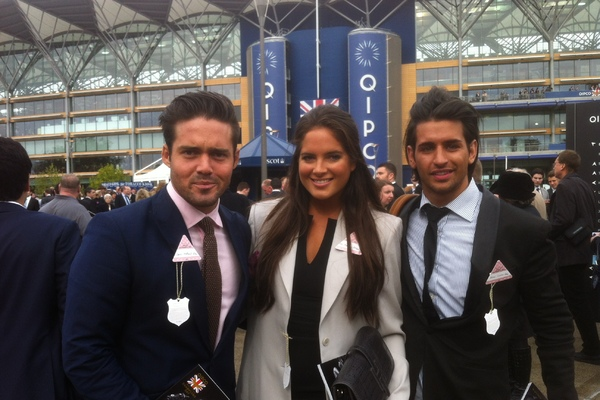 Made in Chelsea cast at Ascot. Binky Felstead, Spencer Matthews, Ollie Locke.