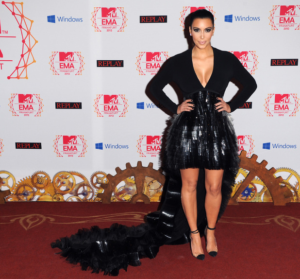 Kim Kardashian arriving for the 2012 MTV Europe Music Awards at the Festhalle Frankfurt, Germany.