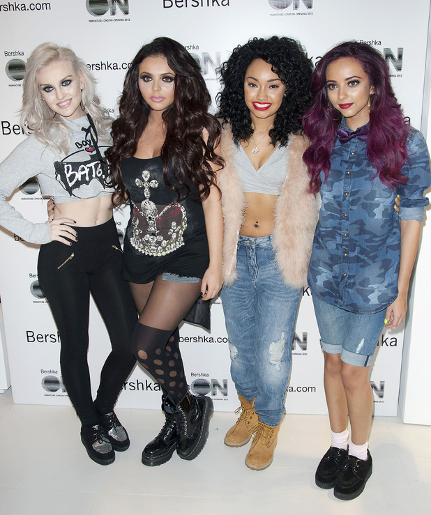 Perrie Edwards,  Jesy Nelson, Leigh-Anne Pinnock, Jade Thirlwall Little Mix perform live and pose for photographs at the Bershka store launch, Oxford Street London, England