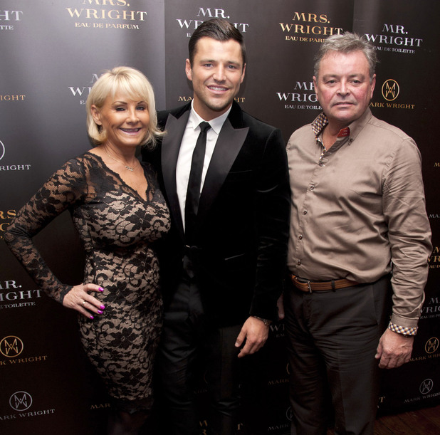 Mark Wright with Carol Wright and Mark Wright Sr. Mark Wright unveils his first fragrance collection featuring two scents, 'Mr Wright Pour Homme' and 'Mrs Wright Pour Femme' at the Soho Sanctum Hotel London, England - 22.11.12 Mandatory Credit: WENN.com