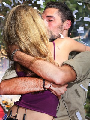 Hugo Taylor kisses girlfriend Natalie Joel after leaving I'm A Celebrity Get Me Out Of Here - 28 November 2012