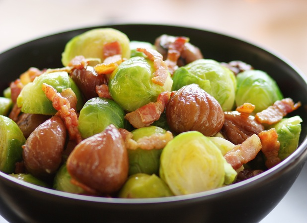 Roasted Brussels Sprouts With Bacon And Chestnuts Recipe ...