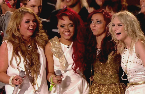 Little Mix are the winners of 'The X Factor' Final and are joined on stage by the former contestants,  shown on ITVEngland - 11.12.11 Supplied by WENN.comWENN does not claim any ownership including but not limited to Copyright or License in the attached material. Any downloading fees charged by WENN are for WENN's services only, and do not, nor are they intended to, convey to the user any ownership of Copyright or License in the material. By publishing this material you expressly agree to indemnify and to hold WENN and its directors, shareholders and employees harmless from any loss, claims, damages, demands, expenses (including legal fees), or any causes of action or  allegation against WENN arising out of or connected in any way with publication of the material.