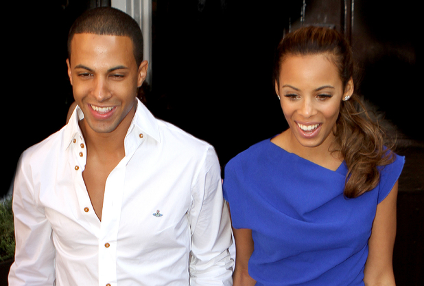 Marvin Humes and Rochelle Wiseman aka Rochelle Humes leaving their hotel for the first time as husband and wife following their wedding, which took place on Friday (July 27) at Blenheim Palace England - 28.07.12 Credit: (Mandatory): WENN.com