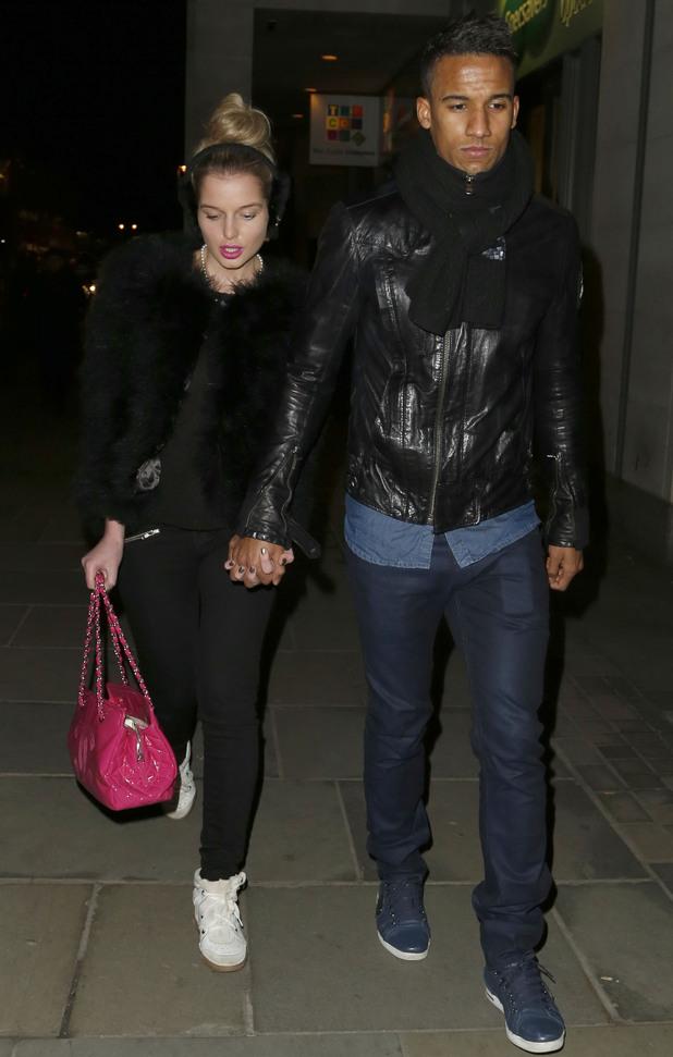 Helen Flanagan and her footballer boyfriend Scott Sinclair strolled hand in hand through Covent Garden. Credit: WENN.com