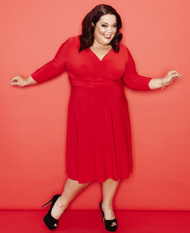 Lisa Riley wearing a red dress for Reveal&#39;s exclusive photo shoot. 