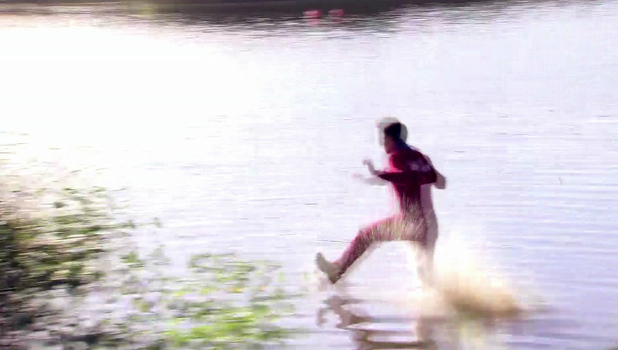 Joey Essex is seen trying to run on water in 'The Only Way Is Essex' Shown on ITV2 HD England - 01.11.12