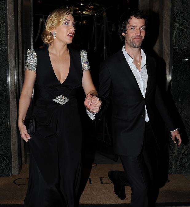 Kate Winslet with with boyfriend Ned Rocknroll, leaves Claridge's Hotel wearing a glistening Jenny Packham black gown London, England - 27.03.12 Mandatory Credit  WENN.com