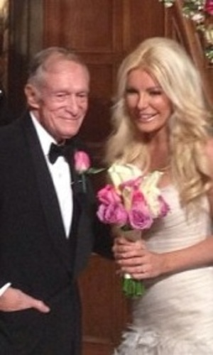 Hugh Hefner and Crystal Harris on their wedding day