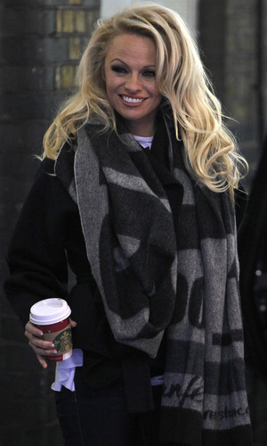 Pamela Anderson arrives for Dancing On Ice rehearsals - 3 January 2013