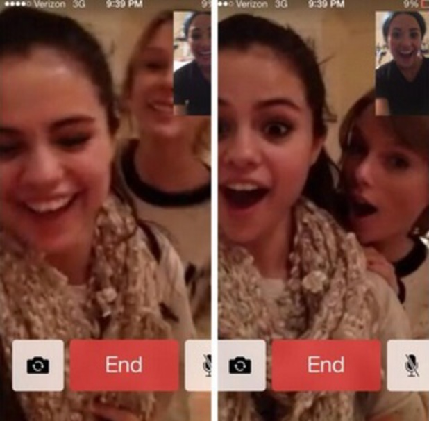 Selena Gomez, Taylor Swift and Demi Lovato share a Facetime call, 29 December 2013