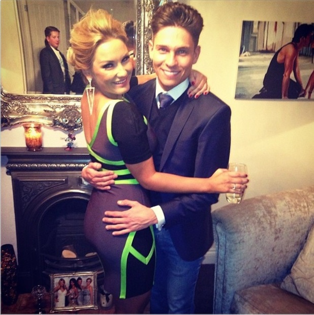 Sam Faiers posing with joey Essex at her birthday party