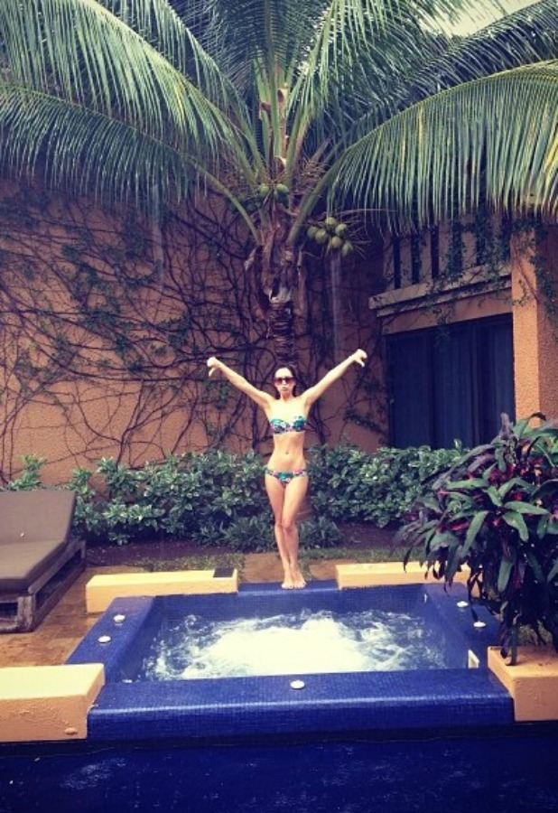 Myleene Klass celebrates New Year in Mexico, 2013