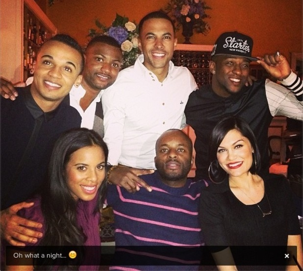 Jessie J dines with JLS and The Saturdays singer Rochelle Humes