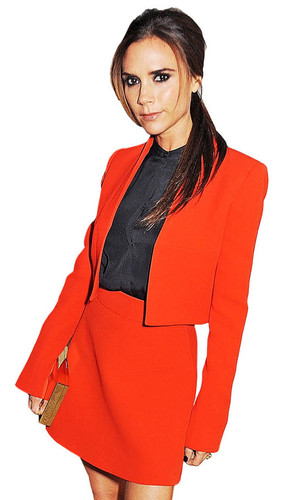 Victoria Beckham in red skirt suit