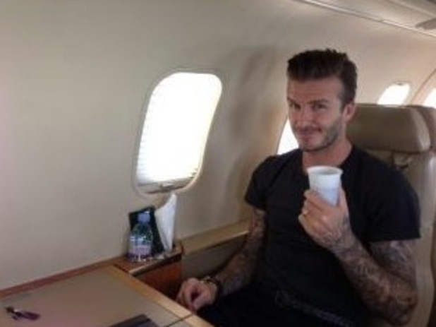 David Beckham on plane to Paris