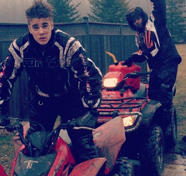 Justin Bieber and Lil Twist quad biking on 31 January