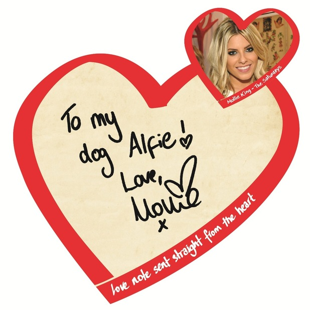 Mollie King from The Saturdays sends a Valentine's Day note with the British Heart Foundation