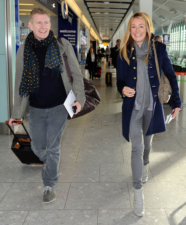 Cat Deeley and Patrick Kielty fly out of Heathrow Airport in London on 31 January