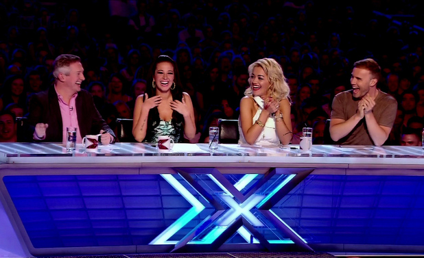 Louis Walsh, Tulisa, Rita Ora and Gary Barlow appear as judges on ' X Factor ' Shown on ITV1 HDEngland - 16.09.12 Supplied by WENN.comWENN does not claim any ownership including but not limited to Copyright or License in the attached material. Any downloading fees charged by WENN are for WENN's services only, and do not, nor are they intended to, convey to the user any ownership of Copyright or License in the material. By publishing this material you expressly agree to indemnify and to hold WENN and its directors, shareholders and employees harmless from any loss, claims, damages, demands, expenses (including legal fees), or any causes of action or  allegation against WENN arising out of or connected in any way with publication of the material.