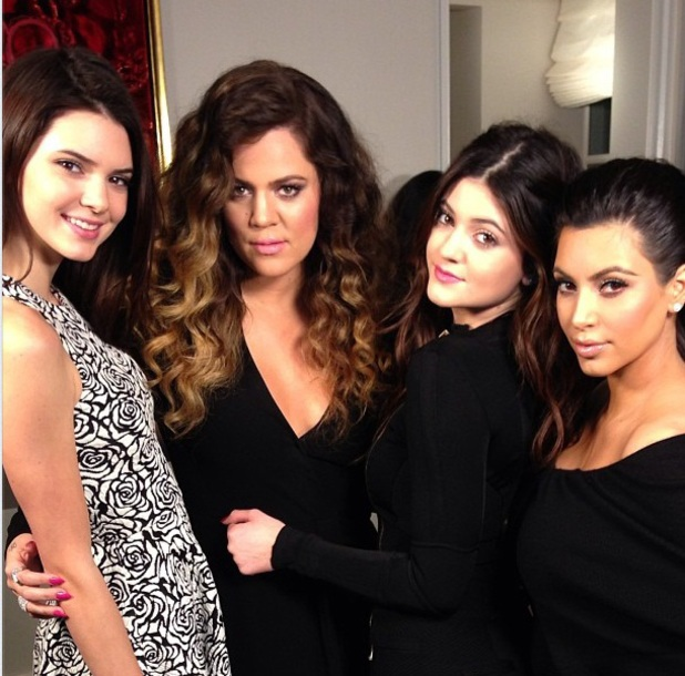 Kim Kardashian, Khloe Kardashian, Kylie and Kendall Jenner in a Twitter photo on 9 March 2013
