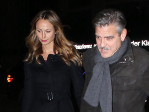George Clooney and Stacy Keibler arriving at Grill Royal restaurant for dinner. Berlin, Germany - 16.03.2013 Credit: WENN.com