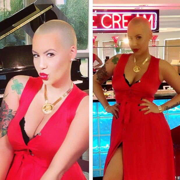 Amber Rose uploads post-pregnancy photo in red dress