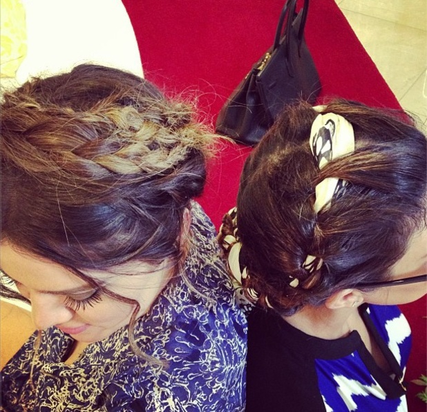 Khloe Kardashian, Kourtney Kardashian with same braids in their hair, Twitter/Instagram, 29th March 2013