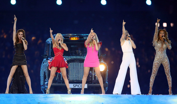 Victoria Beckham performs with Spice Girls at 2012 London Olympics