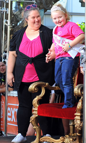 'Here Comes Honey Boo Boo' star Alana Thompson and her mother 'Mama June' at The Grove to appear on entertainment news show 'Extra' Los Angeles, Calfornia- 15.10.12 Mandatory Credit: Michael Wright/WENN.com