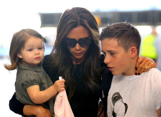Victoria Beckham and family at Los Angeles International Airport, 15 April 2013