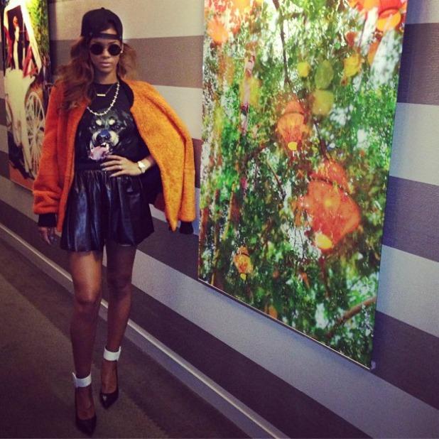 Rihanna Instagram saint laurent heels givenchy t-shirt