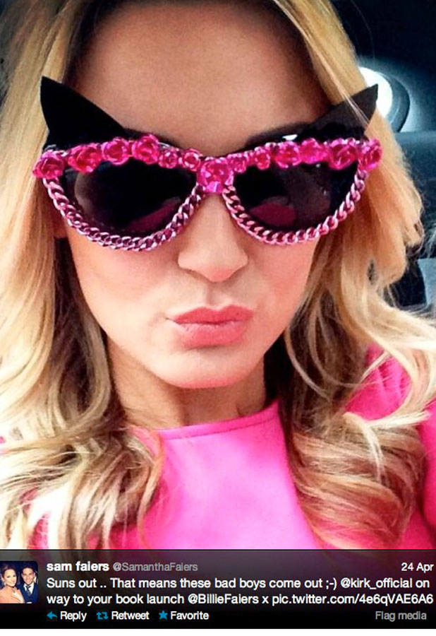 Sam Faiers, twitter picture cat eye sunglasses, 24/04/13