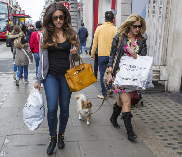Francesca Hull and Gabriella Ellis spotted shopping in central London. Francesca brought her dog along - 8 May 2013